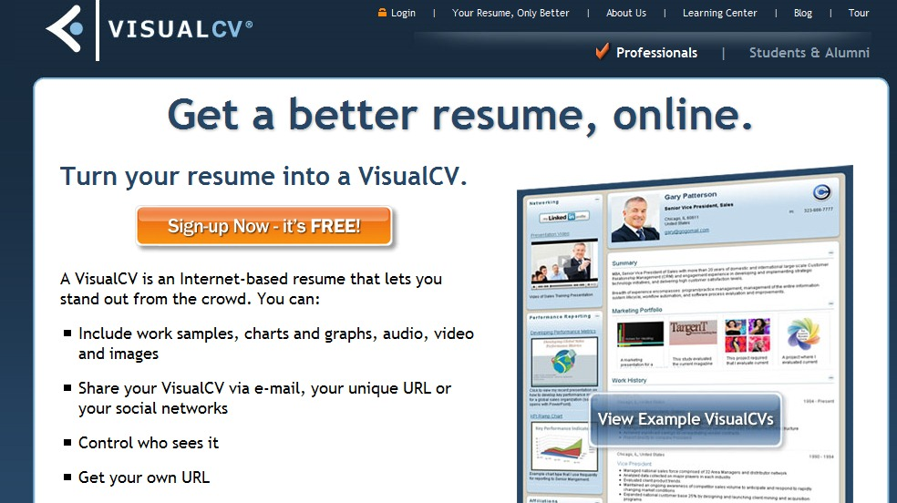 visual cv is another top resume building sites which allows you to create multiple online resumes easily with a variety of different templates - Resume Building Websites